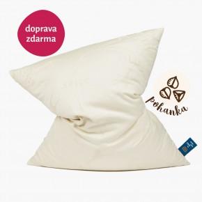 Velký polštář na spaní plněný pohankou je skvělý pomocník při bolestech krční páteře a nespavosti.