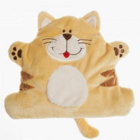 Plyšová nahřívací kočička pro miminka obsahuje hřejivý polštářek s lněnými semínky
