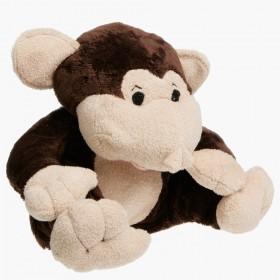 Plyšová nahřívací opička do mikrovlnky obsahuje vnitřní polštářek s třešňovými peckami.