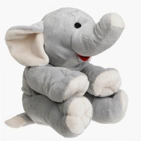 Plyšový nahřívací sloník do mikrovlnky obsahuje vnitřní polštářek s třešňovými peckami.
