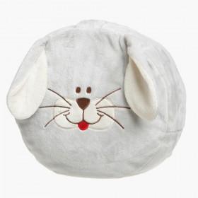 Přírodní puf pro děti v plyšovém snímatelném obalu ve verzi králíček