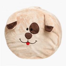 Přírodní puf pro děti v plyšovém snímatelném obalu ve verzi pejsek