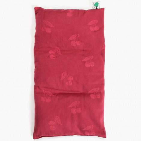 Velký nahřívací polštářek ve tvaru obdelníku je ušitý z kvalitní bio bavlny s jemným dekorem třešní.